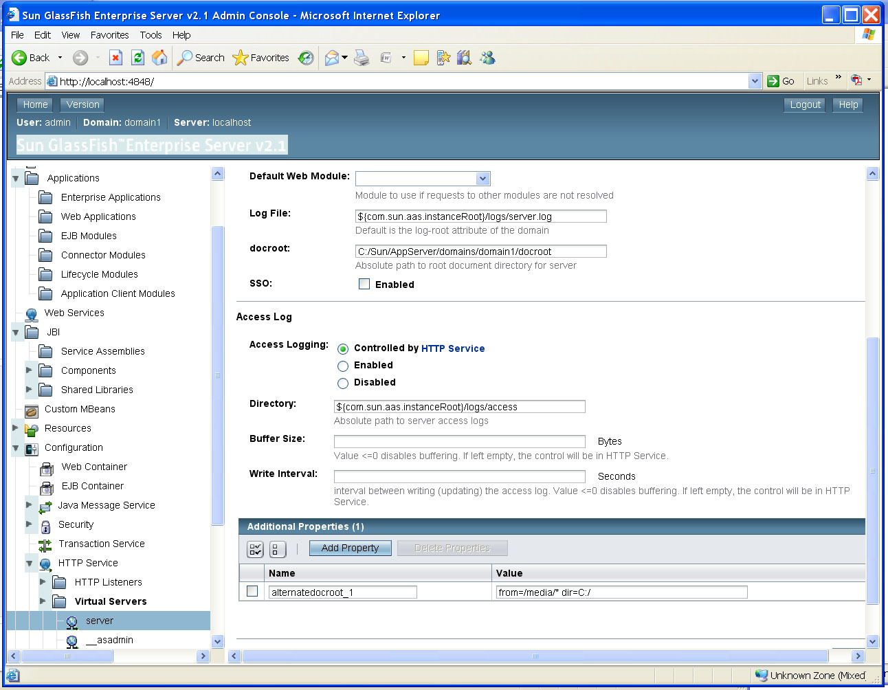 Using virtual directories in Glassfish.